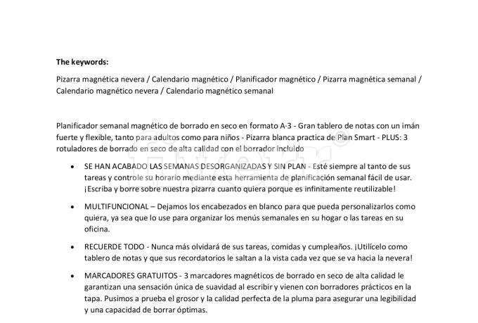 translation Amazon listings English to Spanish