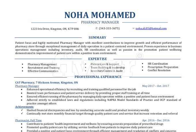 Pharmacy Manager Resume Resume Ideas