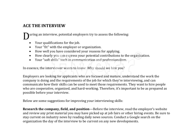deliver a 9 page interview prep packet to land a job by