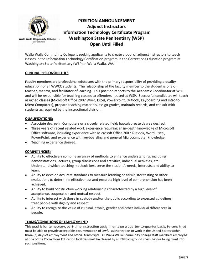 example adjunct instructor resume