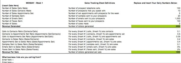 sales call tracking sheet