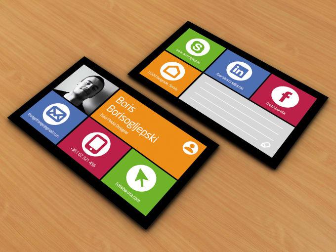 design social media or windows style business card