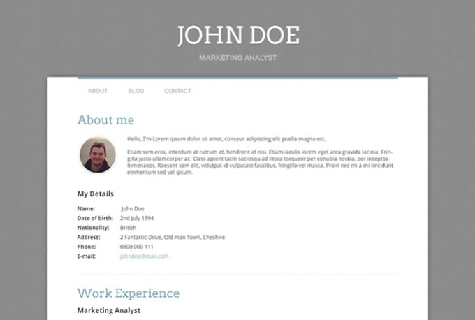 create you a online resume site on wordpress by twopeas