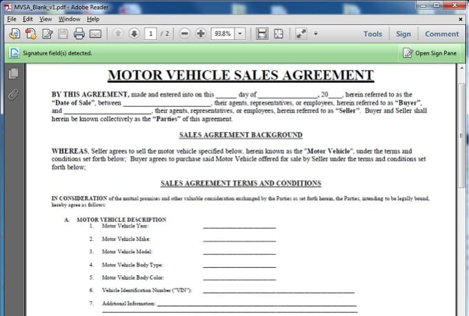 You A Motor Vehicle Sales Contract Template