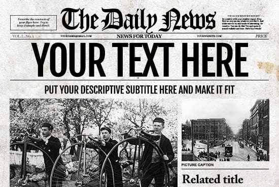 Customize a old fashioned newspaper for your for Old fashioned newspaper template free