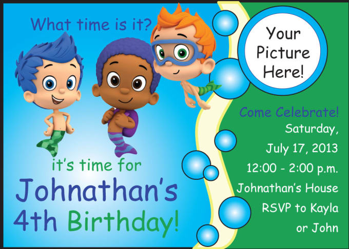 create a boys bubble guppies birthday invitation by kimfdesigns, Birthday invitations