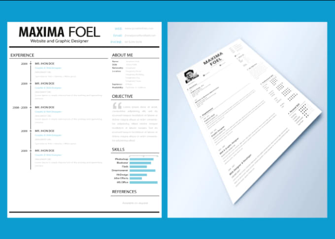 create an eye catching resume or curriculum vitae