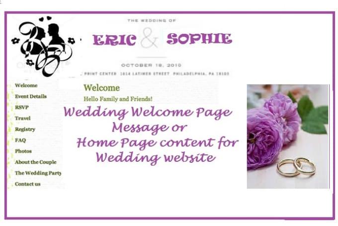 wedding website welcome messages