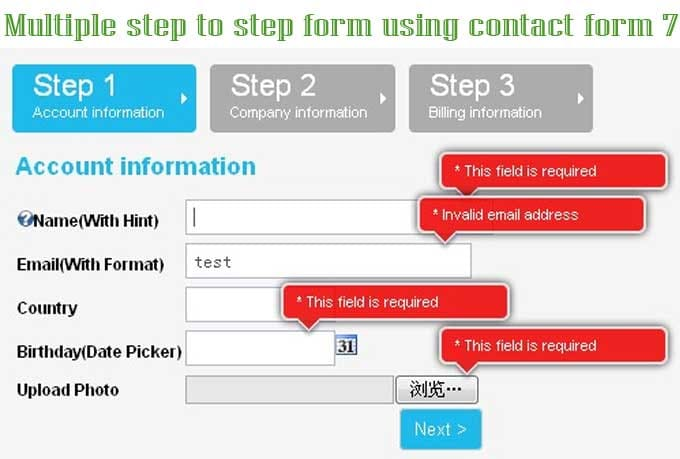 Dynamic your multiple step form use contact form 7 by Shaplahost
