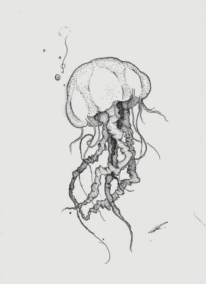 sketch for a tattoo jellyfish dot drawing style