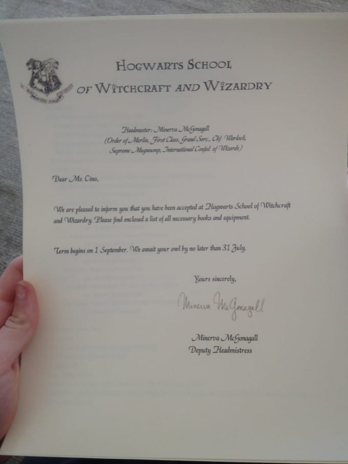 You A Harry Potter Hogwarts Acceptance Letter