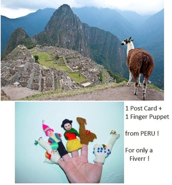 finger puppet and postcard from Peru
