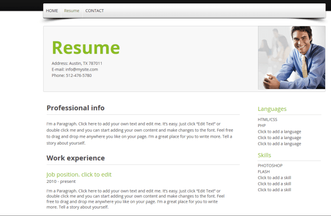 create a professional webpage online resume cv by jjking