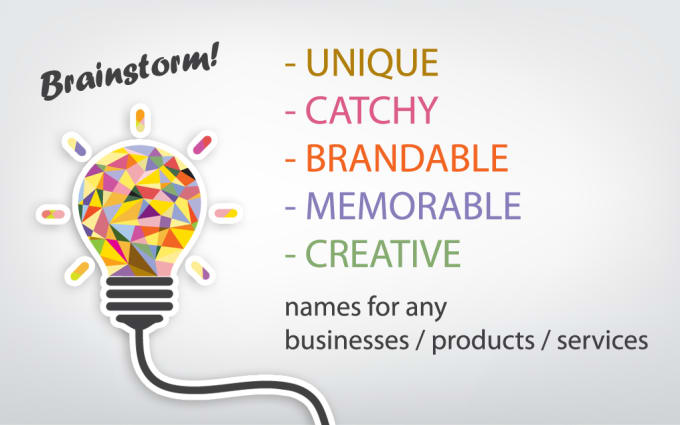 help you think of 5 business names company names brand names web domain - Graphic Design Business Name Ideas
