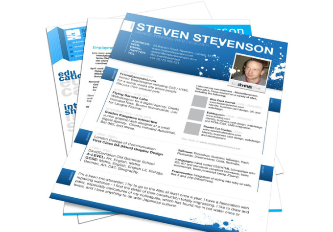 design great creative resume or cv