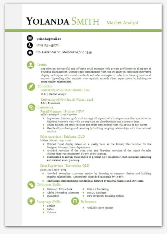 resume templates for word pad