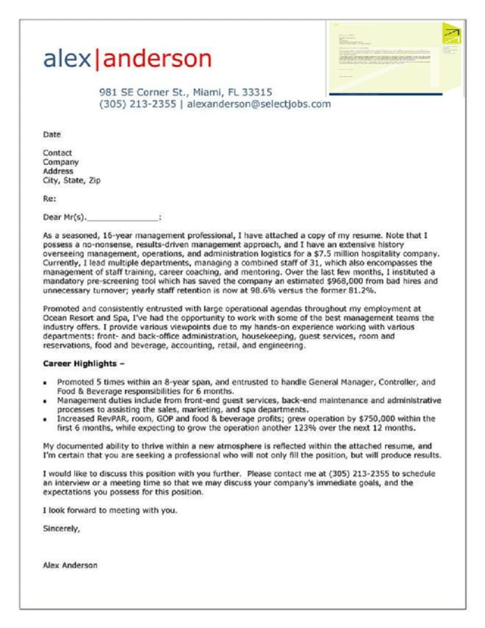 account manager cover letter samples