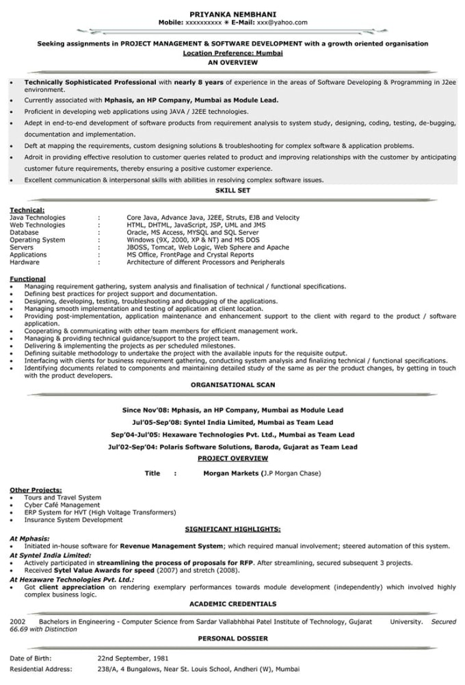 oracle dba fresher resume sample doc