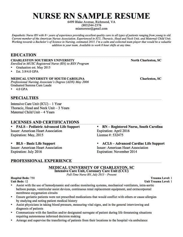 example of a nurse resume