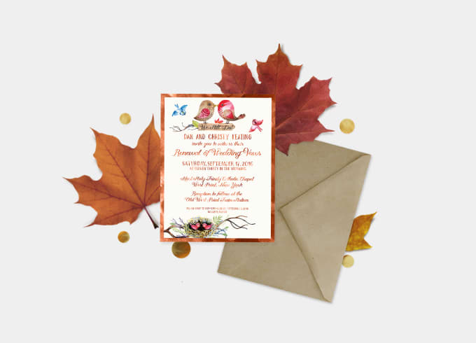 Design a beautiful wedding invitation by Rodchenko