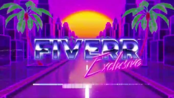 Create an 80s neon city retro animation intro video of your text