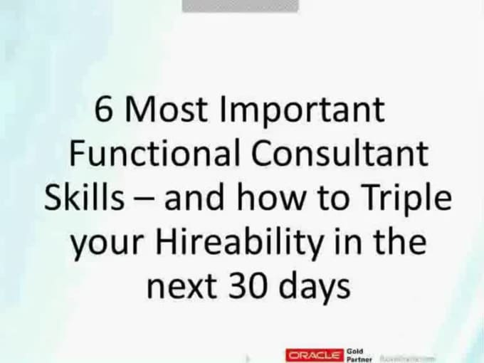 Successful Oracle Functional Consultant Webinar