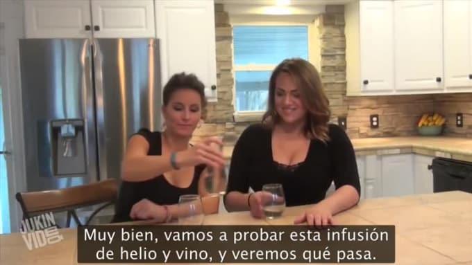 Two Women Drink Helium Infused Wine-SpanishSub