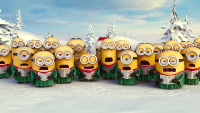 put your text and logo in this minions merry christmas video - Minions Merry Christmas