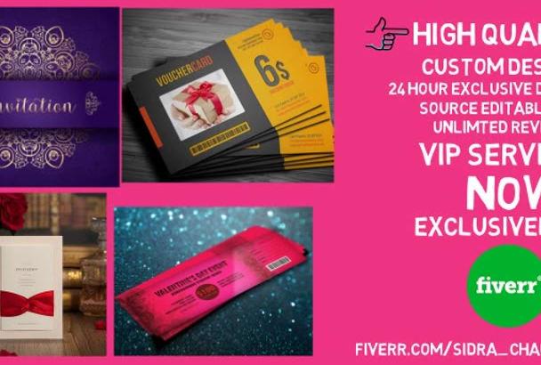 design a coupon, voucher,wedding card for you