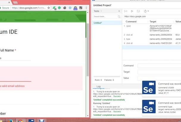 make automation scripts in selenium ide