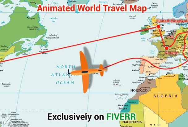 create animated world travel map or animated street map by hamjaiu