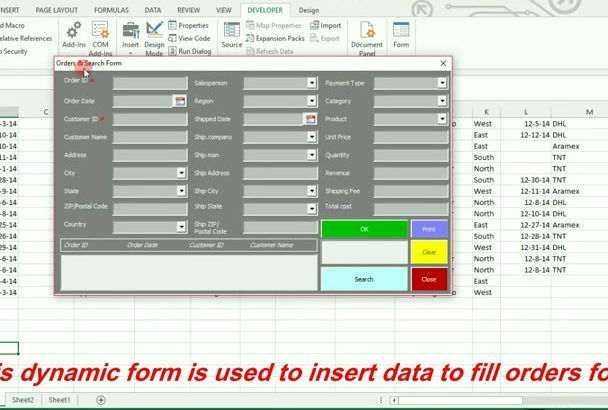 design user form to insert and search data in excel workbook