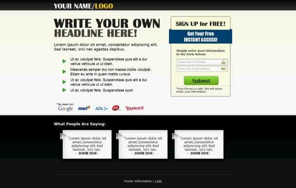 give you 25 editable squeeze page templates
