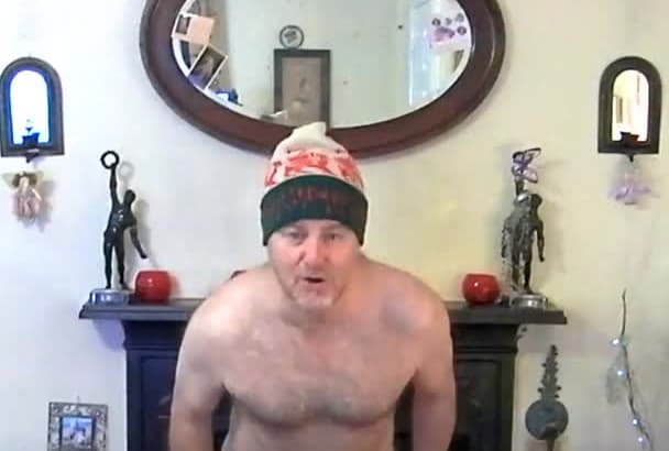 sing Happy birthday in Welsh, wearing only a thong and wooly hat