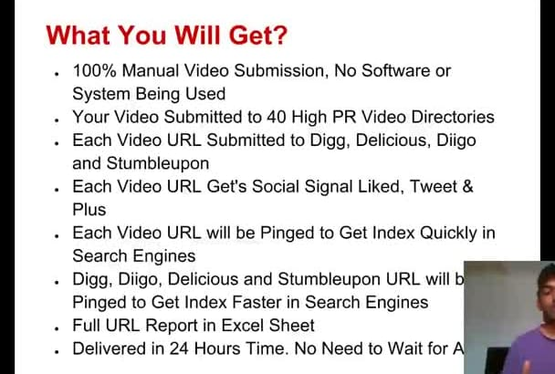 do Manual Video SUBMISSION to 40 High Website Plus More