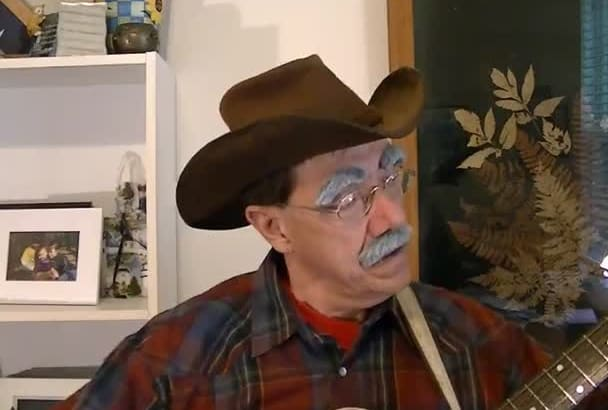 as a Western Cowboy sing a song on guitar and tell your story