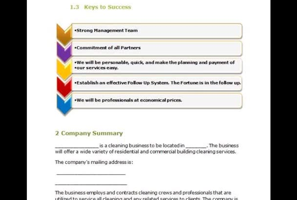 supply a Janitorial Cleaning Company Business Plan