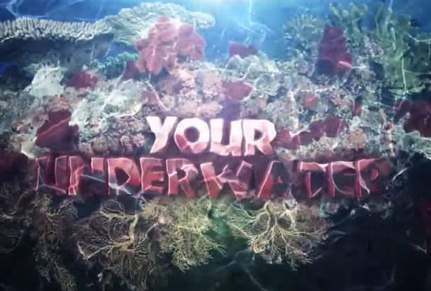 put your logo underwater on beautiful ocean coral reef