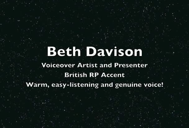 be your female, British voiceover artist