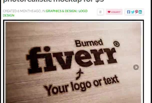 logo into 5 wood photorealistic mockup