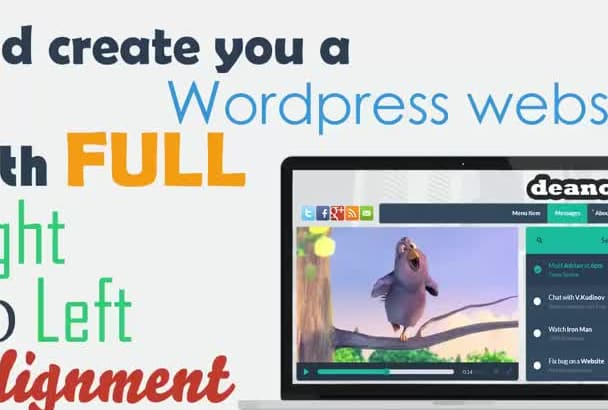 create you a wordpress website with full right to left rtl hebrew, arabic