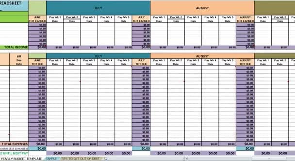 reduce your debt with a yearly budget spreadsheet PLUS