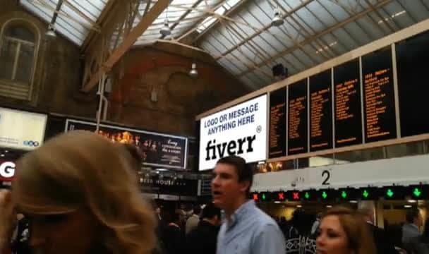 add anything inside a london train station billboard video