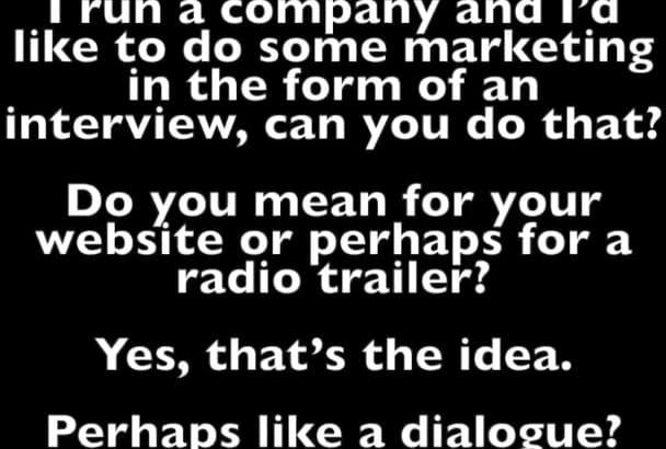 record a DIALOGUE conversation voiceover