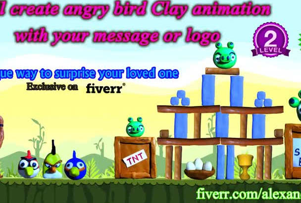 create angry bird clay animation with your message