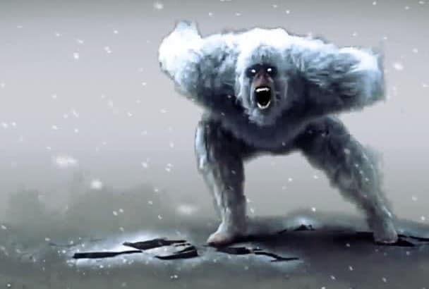 make your logo text to be destroyed by a real Yeti