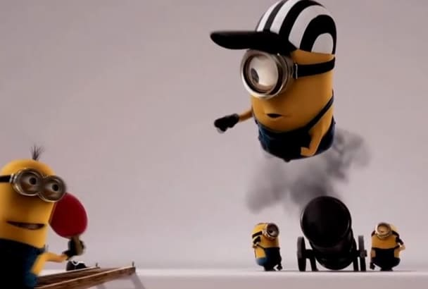 create a 3D intro  with Funny Cannon Minions Animation