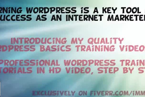 give you quality Wordpress basics training videos