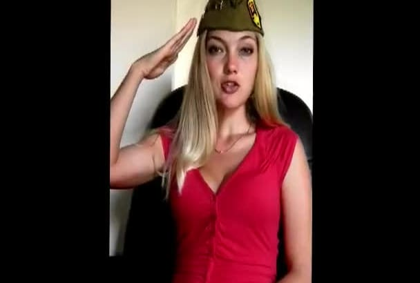 make a cute greeting wearing Russian soldier hat