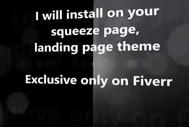 install on your squeeze page landing page theme